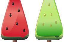 Grünes und rotes Eis