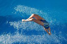 Pro lady diver - Stock Image